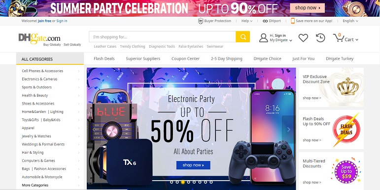 dhgate site screenshot