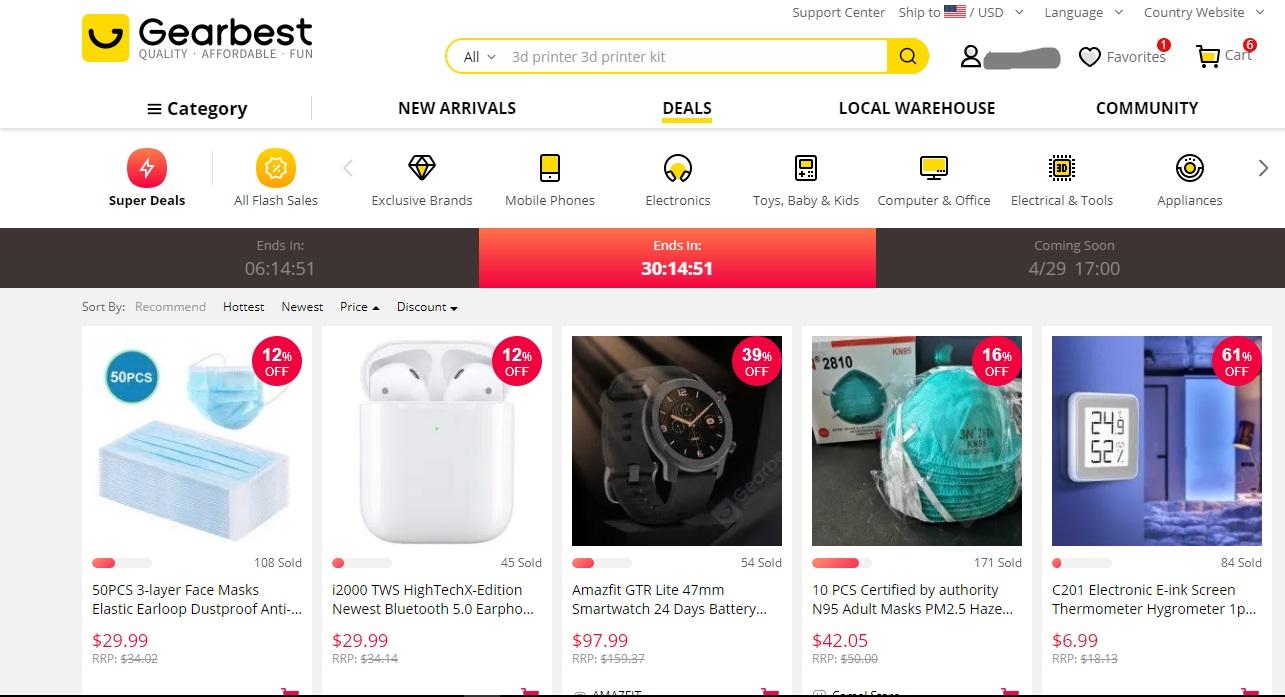 Gearbest Flash-Verkaufsseitenbild
