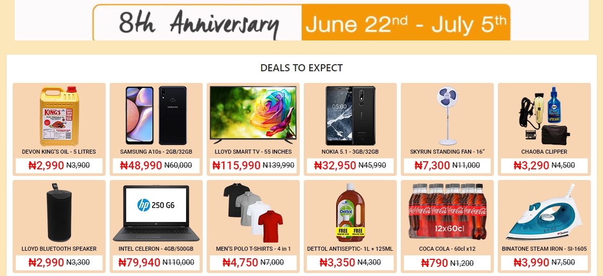 jumia 8th anniversary deals